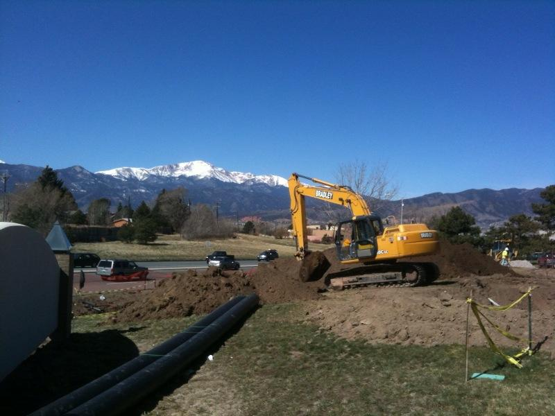 Cragmor water line project construction and Pikes Peak