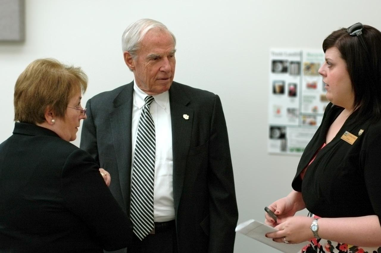 CU President Bruce Benson confers with Chancellor Pam Shockley-Zalabak and Student Government Association President Kristina Achey.