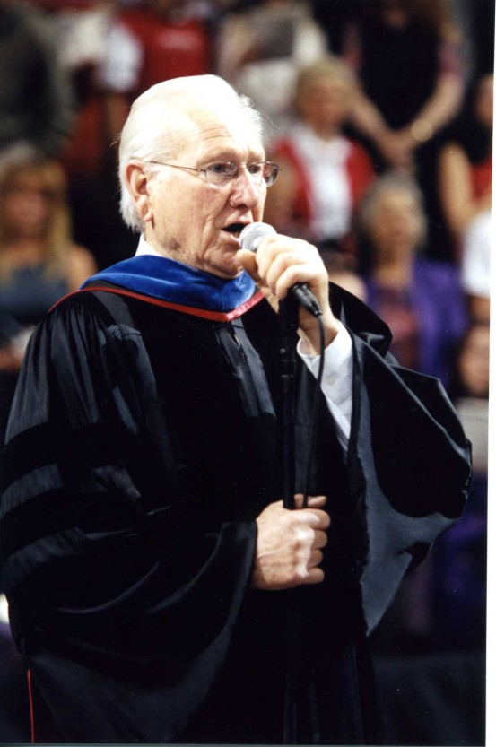 Paul Ballantyne singing at commencement