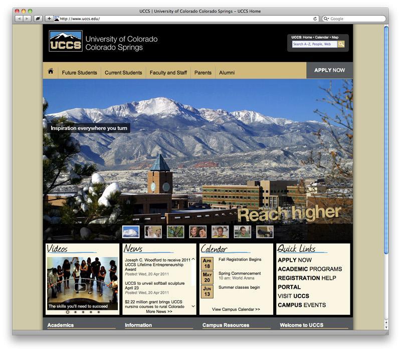 UCCS homepage screenshot
