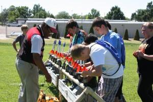 Students launching rockets