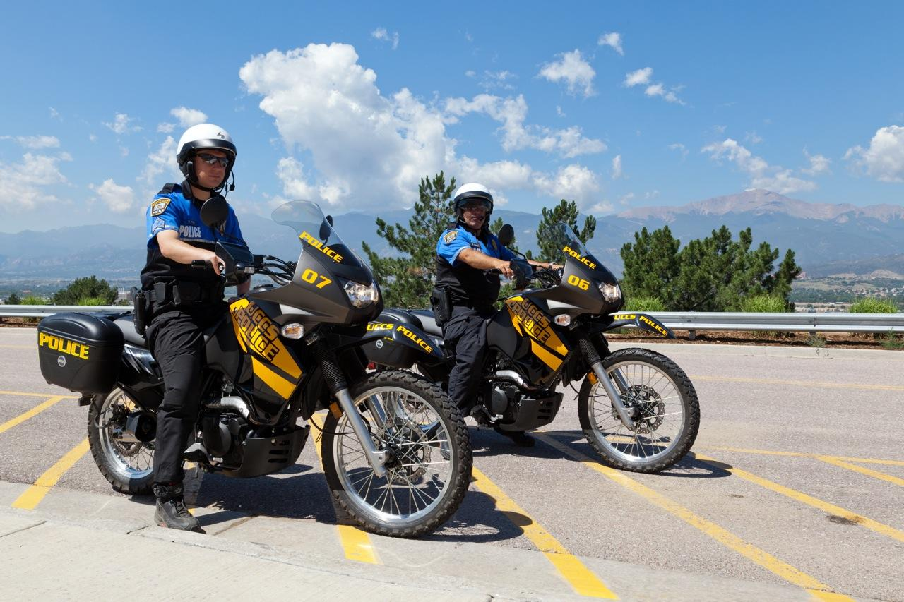 UCCS police officers on motorcycles