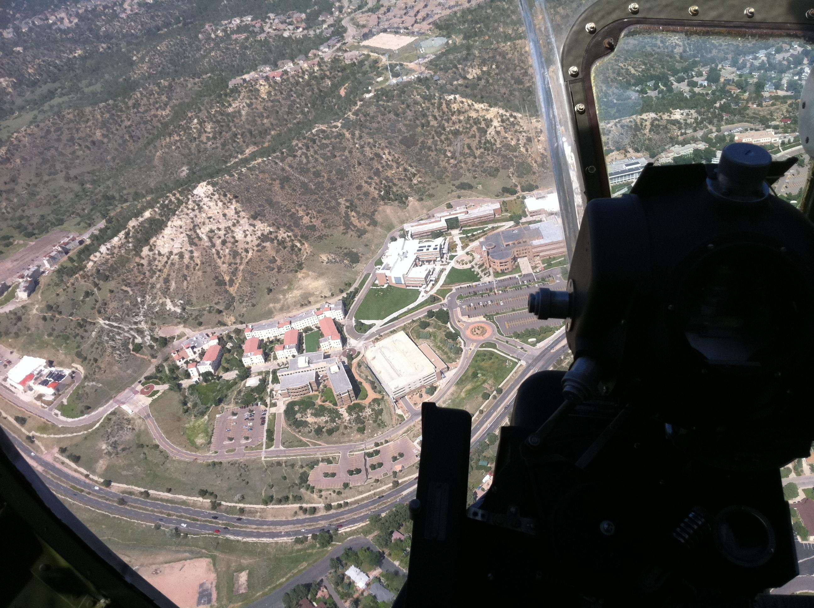 An arial photo of UCCS campus from a b17 bomber by Derek Cohn