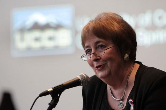 Chancellor Pam Shockley-Zalabak speaks at the Lane Donation Announcement