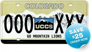 UCCS license plate - save $25, order now