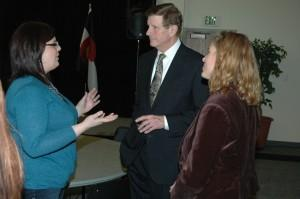 Mayor Bach speaks with UCCS students and staff