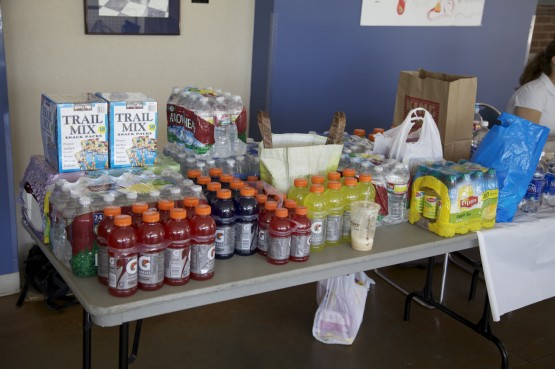 The UCCS United Languages & Cultures Association food and supply drive in the UC.