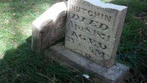 Ella Hutchin's damaged headstone
