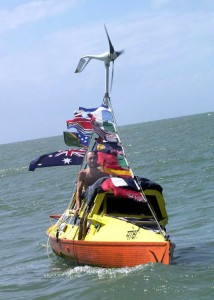 Jason Lewis on his boat Moksha entering Port Douglas Australia on Aug. 18, 2000.