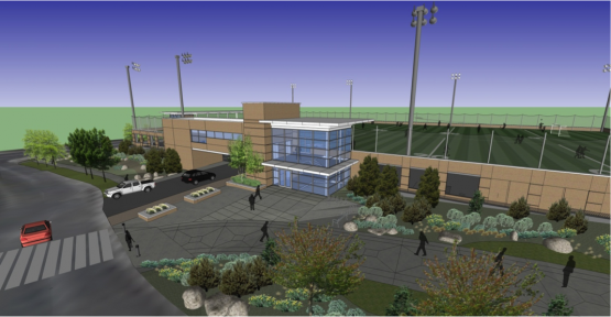 Rendering of future parking garage and recreation field