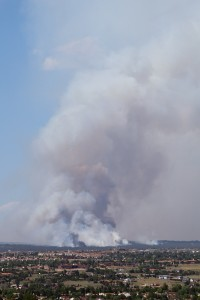 Photo of Black Forest Fire smoke plume from the bluffs behind UCCS