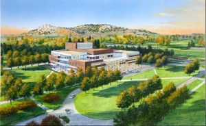 An artist's rendering of a new visual and performing arts building.
