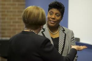 Chancellor Pam Shockley-Zalabak and Veronica Nelson discuss the university partnership.