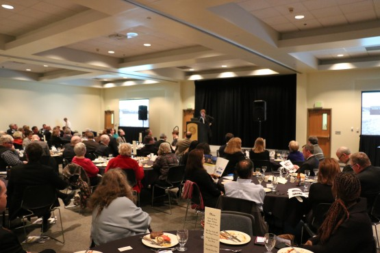 Shockley-Zalabak speaking to local community leaders at a University Club dinner on Jan. 23