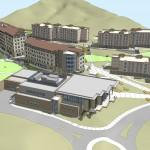 An architect's rendering shows an aerial view of The Village at Alpine Valley.