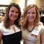 Jane Young, left, past chair of the College of Business Alumni Association, congratulates Samantha Bruner, right.