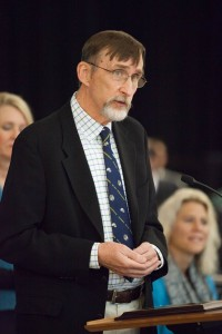 Tom Wynn accepts his appointment as a distinguished professor at the Nov. 20 CU Board of Regents meeting