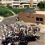 Faculty and staff gathered in 1990 to celebrate the 25th anniversary of the founding of UCCS.