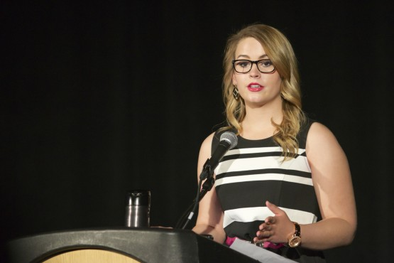 Raigan Holgate, a UCCS freshman communications students and 2014 Miss Colorado Teen, opened the event