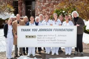 Students, faculty and staff celebrate the Johnson Foundation's gift.