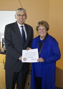 Lt. Gen. (ret.), US Army Rhett Hernandez presenting the Order Of Thor Medal to Chancellor Pam Shockley-Zalabak