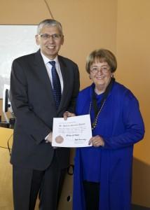 Lt. Gen. (ret.), US Army Rhett Hernandez presenting the Order Of Thor Medal to Chancellor Pam Shockley-Zalabak
