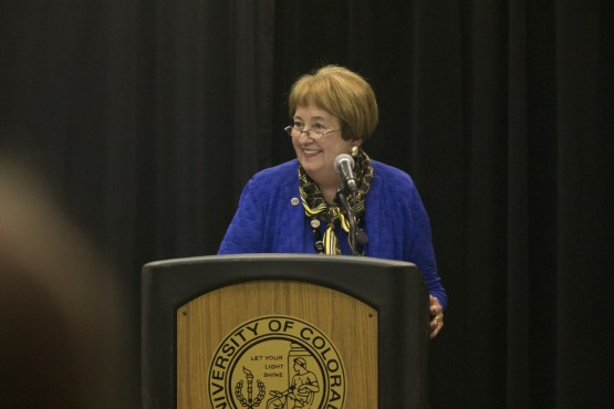 Chancellor Pam Shockley-Zalabak honors the UCCS Men's and Women's Basketball teams
