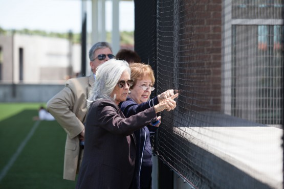 Regent Linda Shoemaker, left, learns about UCCS from atop the Alpine Valley Parking Garage June 17.