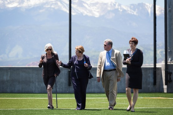 The newest members of the CU Board of Regents visit UCCS June 17. From left: Regent Linda Shoemaker, Chancellor Pam Shockley-Zalabak, Regent John Carson and Vice Chancellor Susan Szpyrka.