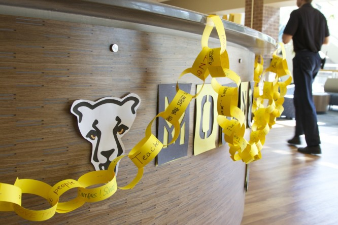 Mountain Lion spirit chain on display at the University Center Information Desk