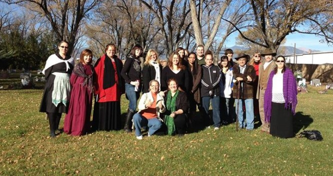 Volunteers from a previous year's efforts at the Fairview Cemetery pose for a group picture