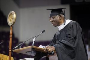 Yusef Komunyakaa delivers commencement address Dec. 18 at the Broadmoor World Arena