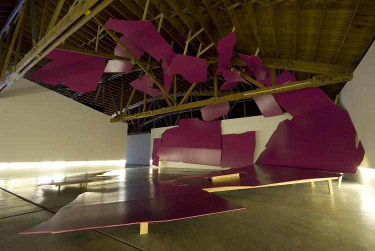 "Jenene Nagy, ""Tidal"" drywall, latex, wood, fluorescent tubes dimensions variable 2010"