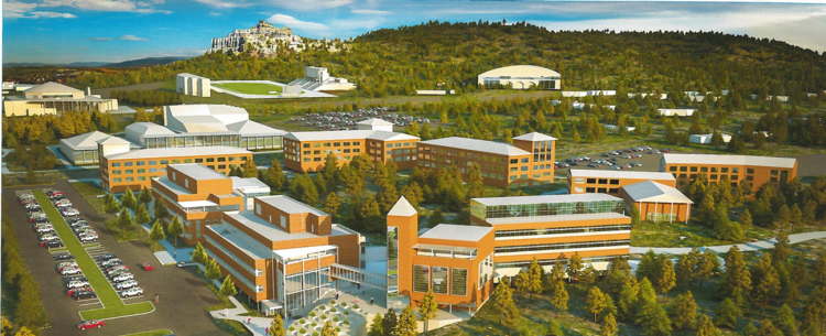 An architect's rendering shows the possible future of the far western edge of the UCCS campus.