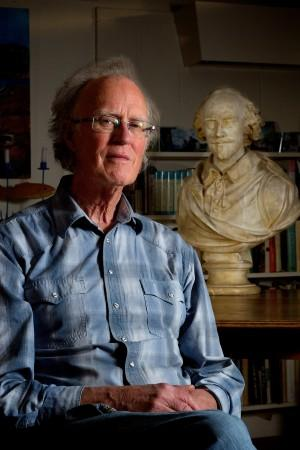 Murray Ross posed recently with a Shakespeare bust.