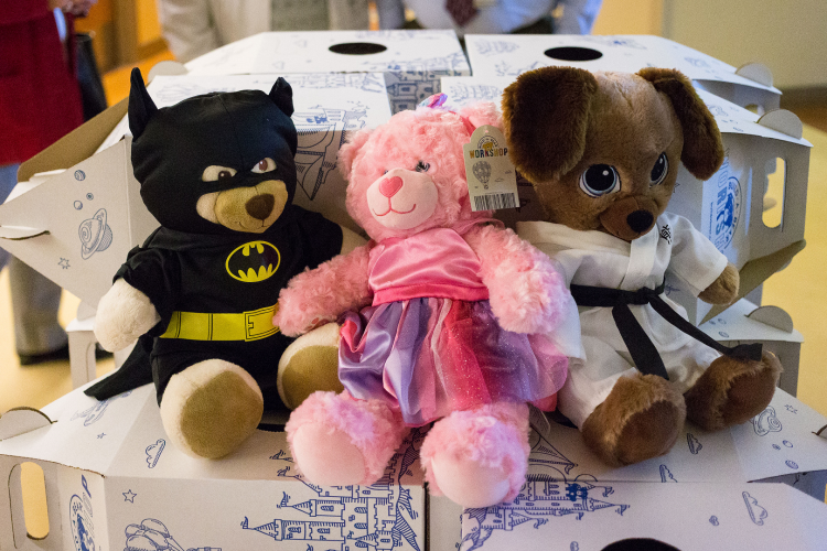 More than 200 hand-decorated bears like these were delivered to area hospitals.