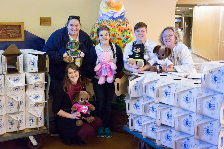 Members of the Beth-El Student Nurses Association presented teddy bears for pediatric patients at Memorial Hospital. From left, Kaitlyn Henderson, junior, Nicole Noblitt, senior, Christa Radka, senior, and faculty adviser Sue Davis, instructor, Helen and Arthur E. Johnson Beth-El College of Nursing and Health Sciences.