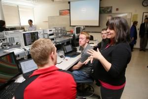A Keysight Technologies executive explains how to use the new oscilloscopes to UCCS students March 28.