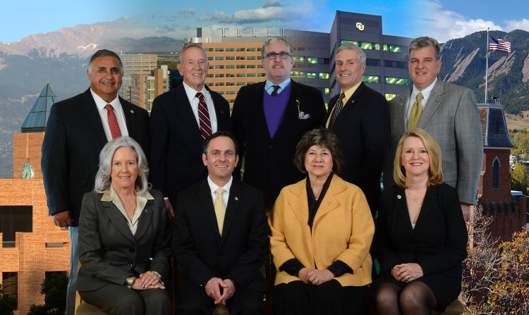 The University of Colorado Board of Regents are (back row, left to right) Glen Gallegos, Steve Bosley, Stephen Ludwig, Michael Carrigan and John Carson (front row, left to right) Linda Shoemaker, Chairman Kyle Hybl, Vice Chair Irene Griego and Sue Sharkey. (Photo by Casey A. Cass/University of Colorado)