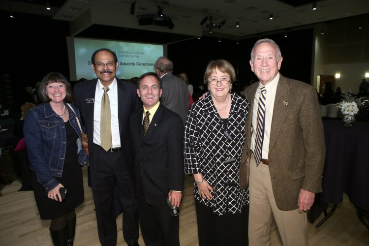 Campus and university leaders celebrate achievement. From left, Valerie Martin Conley, dean, College of Education, Venkat Reddy, dean, College of Business, CU Regent Kyle Hybl, Chancellor Pam Shockley-Zalabak and CU Regent Steve Bosley.