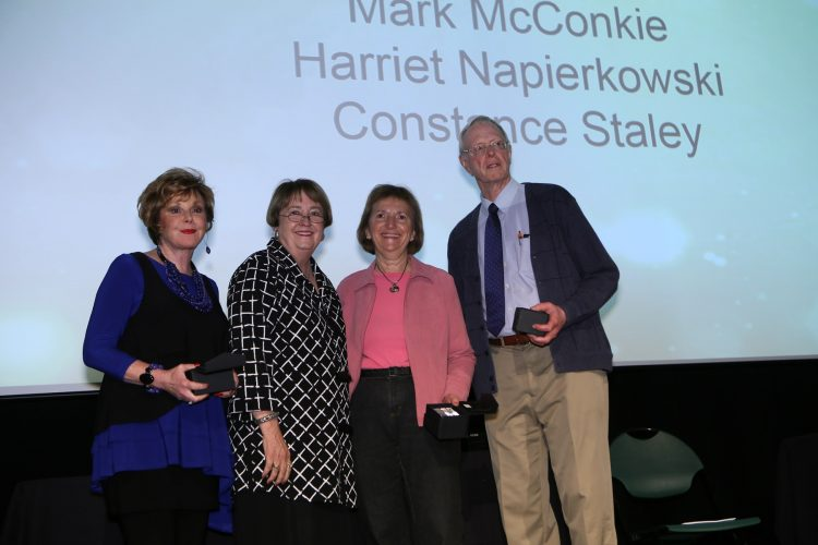 Campus Legacy Award winners from left: Constance Staley, Pam Shockley-Zalabak, Harriet Napierkowski, Mark McConkie.