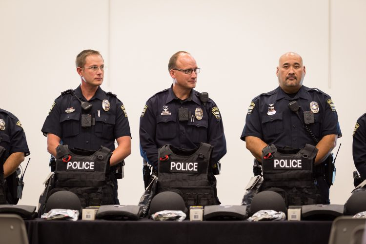 UCCS police officers prepare to meet donors of new tactical gears during a Sept. 28 ceremony.