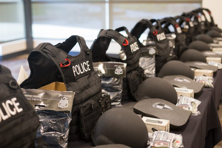 Fifteen tactical gear kits awaited UCCS Police officers. Another kit will be delivered later.