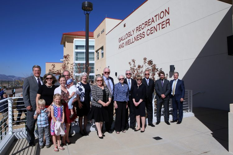Members of the Gallogly family pose for a group picture following the naming of the Gallogly Recreation and Wellness Center