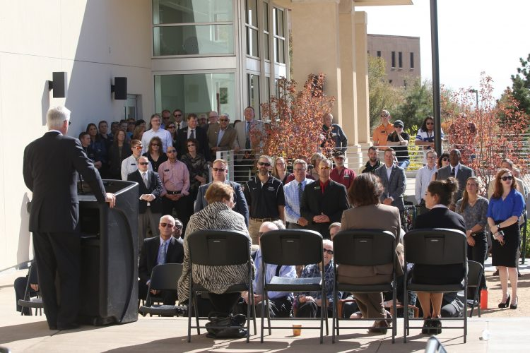Jim Gallogly addresses a crowd of family, faculty and staff during an Oct. 17 naming of the Gallogly Recreation and Wellness Center