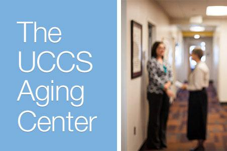 Text and a blurry picture in the background for the UCCS Aging Center