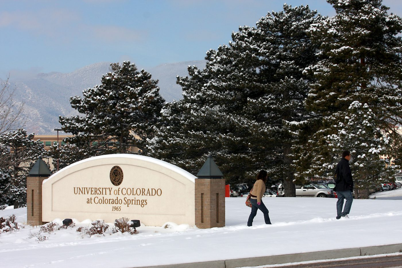 Campus sign in snow