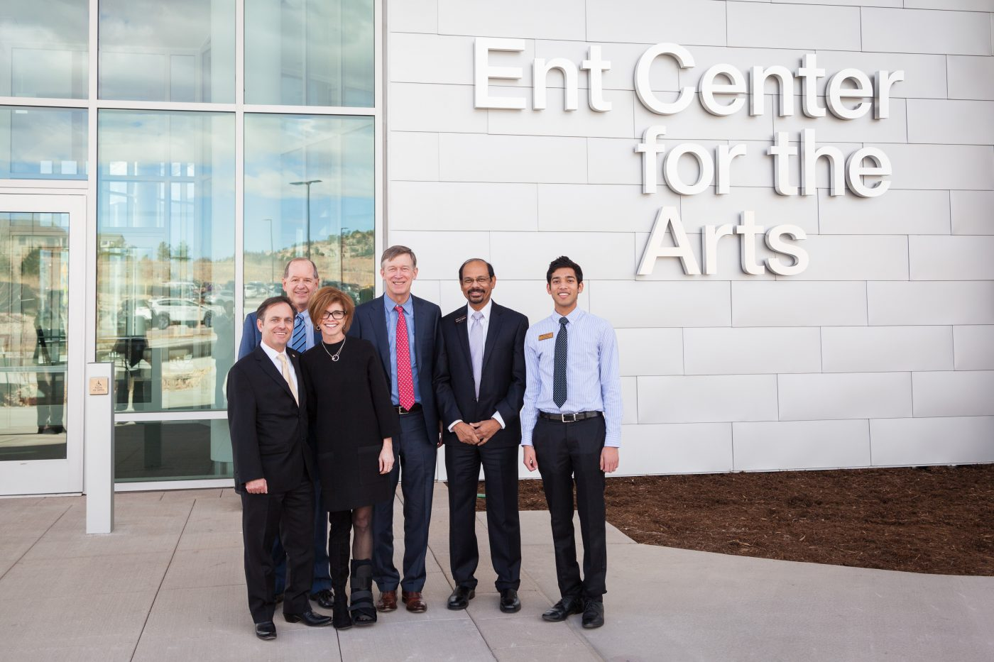 Sally and Kyle Hybl, Martin Wood, Governor Hickenlooper, Chancellor Reddy, and Student Body President Joey Vijayam at the Ent Center for the Arts.
