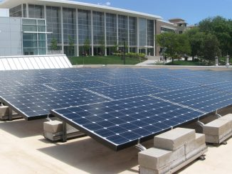 Solar panels on top of Centennial Hall