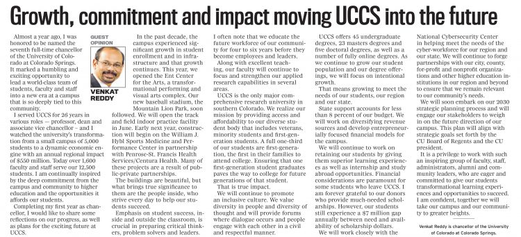 A screenshot from the April 29 op-ed by Chancellor Reddy in The Gazette